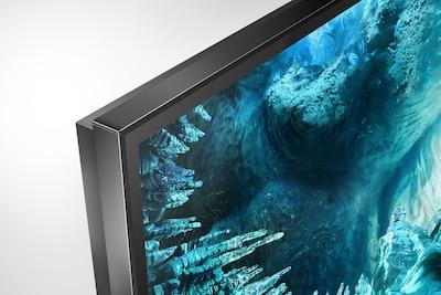 Vista laterale di televisore con cornice sottile
