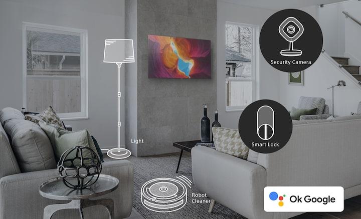 Interni con dispositivi smart home evidenziati