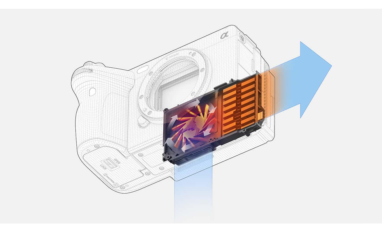 Immagine del flusso d'aria per il raffreddamento nel corpo della videocamera