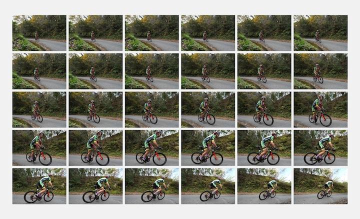 30 immagini a scatto continuo di un ciclista