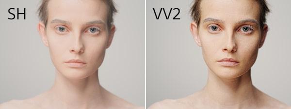 Due immagini del modello con diversi profili cromatici