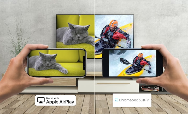 Android e smartphone che trasmettono al TV di Sony con Apple AirPlay e Chromecast