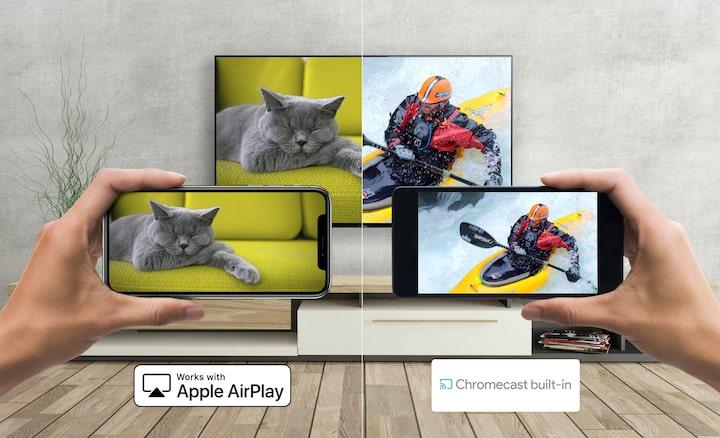 Android e smartphone che trasmettono al TV di Sony con Apple AirPlay e Chromecast