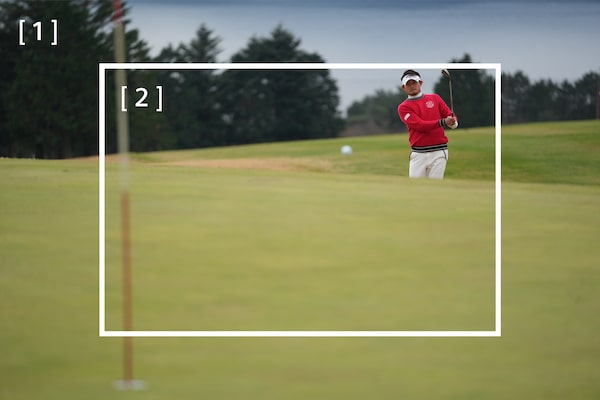 Immagine di golfista con riquadro centrale bianco