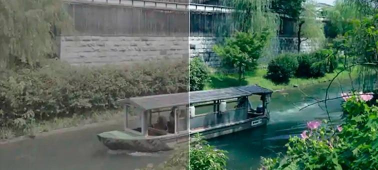 Immagine di una barca su un fiume; a sinistra l'immagine prima del grading